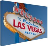 FotoCadeau.nl - Welkomsbord Las Vegas Canvas 30x20 cm - Foto print op Canvas schilderij (Wanddecoratie)