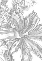 Engraved Flowers, fotobehang van KEK Amsterdam, WP-328, 4 baans behang