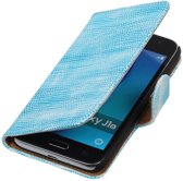 Turquoise Mini Slang booktype cover hoesje voor Samsung Galaxy J1 Nxt