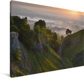 Zonsopgang bij het Nationaal park Peak District in Engeland Canvas 90x60 cm - Foto print op Canvas schilderij (Wanddecoratie woonkamer / slaapkamer)