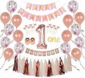 1 Jaar Verjaardag Versiering - Rose Goud - All-in-one Feestpakket - 1ste verjaardag - Kinderfeestje - Ballonnen - Confetti - Happy Birthday - Verjaardag Meisje - Doe het zelf