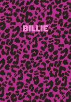 Billie: Personalized Pink Leopard Print Notebook (Animal Skin Pattern). College Ruled (Lined) Journal for Notes, Diary, Journa