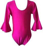 Ballet pakje fuchsia roze - met 3/4 mouw - maat 6 - 104-110