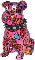 Pomme Pidou spaarpot bulldog Buddy - Uitvoering - Roze met lippen en emoji