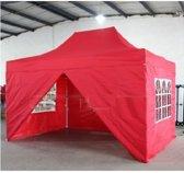Partytent Easy Up Aluminium 3 x 4,5 meter met zijwanden in Rood