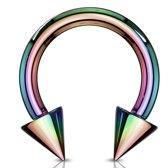 Circular Barbell Spikes Regenboog 5 MM ©LMPiercings