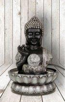 Buddha - Fontein - Witte LED - Zwart/Zilver
