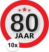 10x 80 Jaar leeftijd stickers rond 9 cm - 80 jaar verjaardag/jubileum versiering