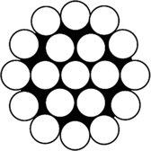Staaldraadkabel gevlochten vz 1x19 1.2mm