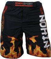 Nihon Fightshort Flames Heren Zwart Maat Xxl