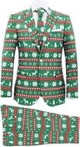 vidaXL Tweedelig kerstpak met stropdas mannen maat 54 feestelijk groen