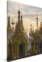 Schwedagonpagode tijdens zonsopgang in Myanmar Canvas 90x140 cm - Foto print op Canvas schilderij (Wanddecoratie woonkamer / slaapkamer)