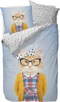 Covers & Co Miss Kitty - dekbedovertrek - eenpersoons - 140 x 220 - Blauw