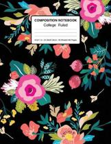 Composition Notebook College Ruled 8.5x11 In 21.59x27.94 50 Sheets/100 Pages: Vintage Composition Notebook College Ruled - Floral Pattern Notebook for