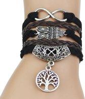 Fako Bijoux® - Multi Armband - Infinity Uil Levensboom - Bruin/Zwart