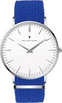 Wallace Hume Klassiek Wit - Horloge - Perlon - Blauw