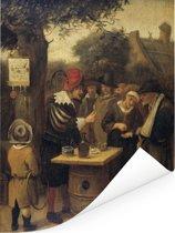 De kwakzalver - Schilderij van Jan Steen Poster 120x160 cm - Foto print op Poster (wanddecoratie woonkamer / slaapkamer) XXL / Groot formaat!
