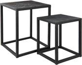 Clayre & Eef Bijzettafel set salontafel (2) 28x28x36 / 36x36x45 cm ijzer zwart
