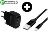 DrPhone Quick Charge Series - Snellader Adapter/Stekker - Thuislader - 9V 2A -18W - Qualcomm 3.0  + Olesit Gevlochten