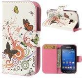 Butterfly wit wallet case hoesje Samsung Galaxy Ace Style G310