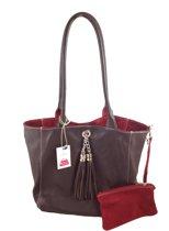 Bags and Tulips omkeerbare schoudertas - Lyn - Leer/Suede - Bruin/Wijn rood