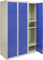 3x Lockers – Lockerkast metaal – locker kledingkast – Blauw - 2 Deurs – lockerkastje - Flatpack