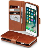 Qubits luxe echt lederen wallet hoes iPhone 7 Plus / 8 Plus cognac