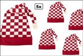 5x Slaapmuts rood/wit geblokt
