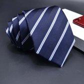 ThannaPhum Donkerblauwe zijden stropdas blauw en zilverkleurige strepen