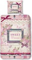 Good Morning 5378-P Sweet Dreams - kinderdekbedovertrek - eenpersoons - 140x200/220 cm - katoen - roze