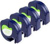 4x Compatible voor DYMO LetraTAG Papier tape labelprinter-tape / 12mm x 4m / Dymo 91200