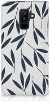 Samsung Galaxy A6 + (2018) Bookcover Hoesje Design Leaves Blue