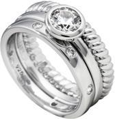 Diamonfire - Zilveren combinatiering Maat 18.5 - Gedraaid - Solitaire - Gladde ring
