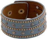 Blauwe Lederen Armband Met Studs en Kristallen