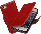 Galata Rood vintage lederlook bookcase voor de Apple iPhone 5 5S SE wallet hoesje flip case Apple iPhone 5 5S SE telefoonhoesje - smartphone hoesje - beschermhoes