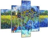 Glasschilderij Klassiek | Blauw, Geel, Zwart | 100x70cm 5Luik | Foto print op Glas |  F004846