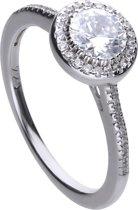 Diamonfire - Zilveren ring met steen Maat 18.5 - Rond - Rand met zirkonia - Pav' bezet