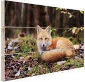 Rustende vos Hout 30x20 cm - klein - Foto print op Hout (Wanddecoratie)