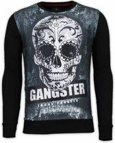 Local Fanatic Gangster Skull - Digital Rhinestone Sweater - Zwart - Maten: XXL