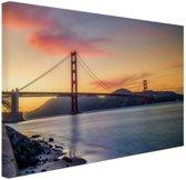 Golden Gate zonsondergang Canvas 30x20 cm - klein - Foto print op Canvas schilderij (Wanddecoratie woonkamer / slaapkamer) / Steden Canvas Schilderijen