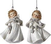 Assortiment Van 2 Zilveren Engeltjes Met Ster En Cadeau Ornamenten 8Cm, 4 Stuks
