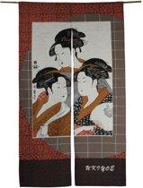 ORIGINELE JAPANSE NOREN (DEURGORDIJN) MET THREE LADIES DESSIN