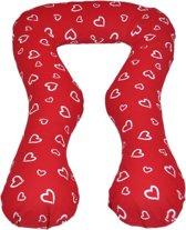Zwangerschapskussen - Voedingskussen - 100% katoen - 300 cm - rood met witte hartjespatroon