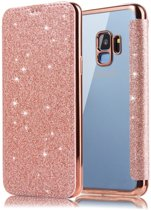 Luxe Crystal Folio Flip hoesje - Book case voor Samsung Galaxy S9 Plus - Roze - Glitters - Bling Bling - Hoogwaardig PU leer - Soft TPU binnenkant cover