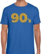 90's goud glitter tekst t-shirt blauw heren - Jaren 90 kleding L