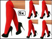 5x Paar Kniekousen rood 41-47