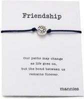 Mannies vriendschapsarmband - 2 stuks - Vriendschaps armband met boodschap! Één voor jou, één voor je vriend(in)! - Meerdere kleuren - Gratis verzending - Vriendschap - Donker Blauw