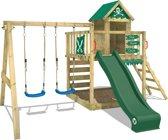 WICKEY Speeltoestel Smart Cave met schommel en groene glijbaan, Houten klimtoestel met zandbak en klimladder Speelhuis voor kinderen