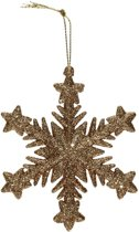 Kersthanger sneeuwvlok goud glitter type 2