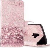 Let op type!! Voor Galaxy S9 + Rose goud patroon horizontale Flip lederen draagtas met houder & kaartsleuven & portemonnee